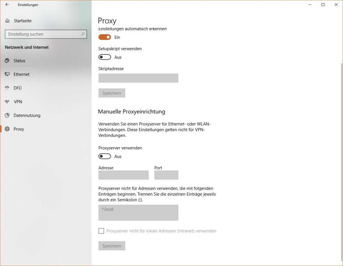 Proxy Einstellungen Windows 10