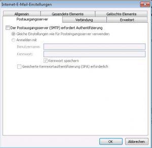 Der Postausgangsserver (SMTP) erfordert Authentifizierung