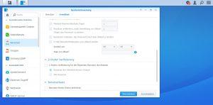 Synology - Systemsteuerung - Benutzer - Erweitert
